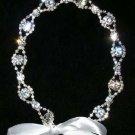 Bridal Wedding Rhinestone Crystal Silver Tiara Ribbon Headband Headpiece