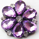 Sparkling Acrylic Crystal Wedding Flower Bridal Purple Tone Shoe Clips Pair