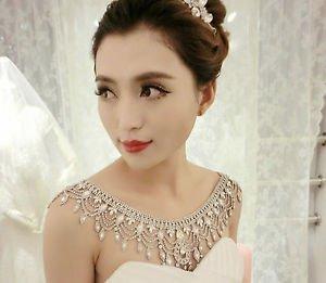 Bridal Wedding Necklace Jewelry Crystal Rhinestone Halter Shoulder Strap