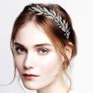 Bridal Wedding Feather Leaf Rhinestone Crystal Hair Black Headband Headpiece