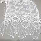 Vintage Paisley Ivory Crochet Lace Crochet Long Tassel Wrap Stole Scarf