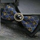 Punk Skull Style Boys Mens Black Pre Tired Adjustable Fibre Rhinestone Tie