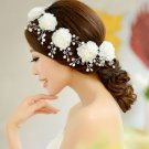 5 pieces Pearl Bridal Wedding Bride Rhinestone Hair Flower Alligator Clips Set