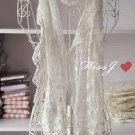 ELEGANT LACE EMBROIDERY COSTUME IVORY TASSEL CROCHET WRAP SHAWL STOLE SCARF