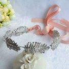 Bridal Wedding Feather Leaf Rhinestone Crystal Hair Headband Headpiece
