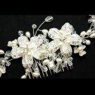 Romantic Flower Bouquet Wedding Bridal Rhinestone Crystal Pearl Hair Comb -CA