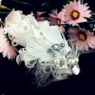 BRIDAL WEDDING ACRYLIC CRYSTAL FEATHER HAIR FASCINATOR ALLIGATOR HAIR  CLIP