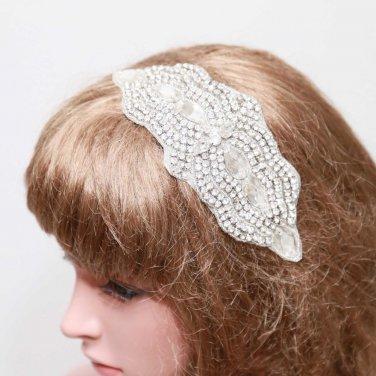 Bridal Wedding Rhinestone Crystal Applique Hair Comb Clip Ribbon Headband