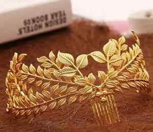 Bridal Wedding Vintage Style Gold Leaf Forehead Hair Accessories Headpiece Comb
