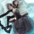 Grey Rabbit Lace Dress Soft Plush Handbag Keychain Toy Doll Chain Necklace