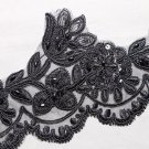 Bridal Wedding Black Embroidered Lace Beaded Pearl Sequin Veil Trim Per Yard
