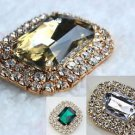 A Pair of Champagne Acrylic Rhinestone Crystal Wedding Bridal Gold Shoe Clips