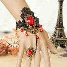 Gothic Goth Evening Black Lace Red Charm Droplets Slave Bracelet With Ring