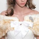 Champagne Gold Bridal Wedding Cape Faux Fur Shrug Wrap With feather brooch
