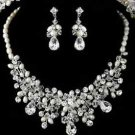 WEDDING BRIDAL RHINESTONE CRYSTAL FAUX PEARL EARRINGS NECKLACE JEWELRY SET