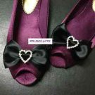 Black Ribbon Rhinestone Crystal Heart Bow Wedding Shoe Charm Clips Pair