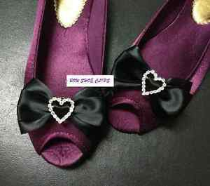Black Ribbon Rhinestone Crystal Heart Bow Wedding Shoe Charm Clips Pair
