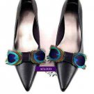 A Pair Peacock Feather Bow Fashion Wedding Bridal Shoe Clips -CA