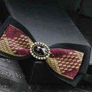 Red Black Polyester Pre Tied Wedding Diamond Checks Neck Bow Tie - CA