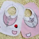 Cute Baby Girl Pink White Flower Layer Cotton Waterproof Feeding Bibs