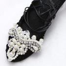A Matching Pair Vintage Faux Pearl Stone White Tone Shoe Applique Patch
