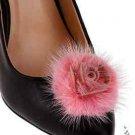 Elegant Pink Mink Fur Flower Rose Wedding Bridal Shoe Clips -CA