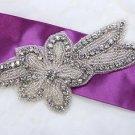 """5.2"""" Star Flower Leaf Rhinestone Crystal Beaded Wedding Bridal Dress Applique"""