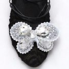 A Matching Pair Fashion Butterfly Stone Silver Tone Shoe Applique Patch