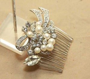 Vintage Silver Bridal Wedding Rhinestone Crystal Freshwater Pearl Hair Comb
