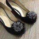 Sparkling Beads Wedding Bridal Black Tone Mink Fur Shoe Clips Charm Pair