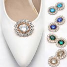 A Pair of Oval Color Rhinestone Crystal Wedding Bridal Gold Shoe Clips