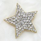 Gold Rhinestone Crystal Star Wedding Bridal Brooch Pin