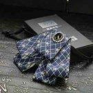 Wedding Party Mens Black Pre Tired Adjustable Polyester Skull Clip Brooch Tie