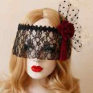 Black Lace Birdcage Veil Masquerade Red Rose Eye Face Mask Costume Accessory