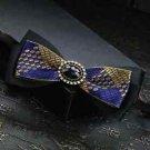 Yellow Blue Black Polyester Pre Tied Wedding Diamond Checks Neck Bow Tie - CA