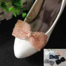 Beaded Crystals Stones Color Bow Wedding Bridal Sparkling Shoe Charm Clips Pair