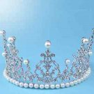 Wedding Bridal Rhinestone Crystal Pearl Silver Crown Headpiece Hair Accessories