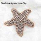 Beach Sea Star Starfish Crystal Rhinestone Wedding Rose Gold Applique Hair Clip