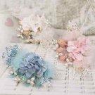 Wedding Bridal Pink Blue Off White Flower Hair Clip Headpiece Fascinator