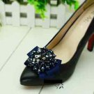 Elegant Navy Blue Ribbon Bow Beaded Crystal Butterfly High-Heel Shoe Clips -CA