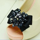 Elegant Black Ribbon Bow Beaded Crystal Butterfly High-Heel Shoe Clips -CA