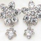 Wedding Jewelry Flower Dangle Rhinestone Crystal Stud Earrings