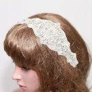 Bridal Wedding Beaded Rhinestone Crystal Applique Hair Clip Ribbon Headband