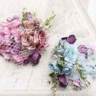 Wedding Bridal Pink Blue Flower Hair Alligator Clip Headpiece Fascinator