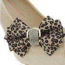 Wedding Bridal Rhinestone Crystal Leopard Ribbon Bow Shoe Clips Pair