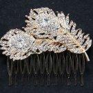 Double Feather Leaf Rhinestone Crystal Rose Gold Wedding Bridal Hair Comb
