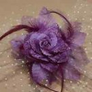 Purple Peacock Feather Wedding Flower Girl Bride Net Hair Clip Accessories - CA
