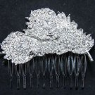 Double Feather Leaf Rhinestone Crystal Silver Wedding Bridal Hair Comb