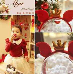 Sexy Girl Christmas Halloween Party Gold Crown Hair Accessories Red Headband
