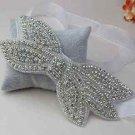 Rhinestone Crystal Wedding Bridal Bow Hair Applique Organza Ribbon Headband